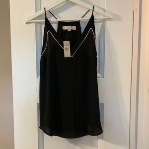 LOFT XSP Silky Tank, NWT, Black with White Trim